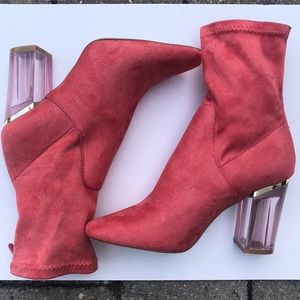 Pink Sock Boots with Clear Pink Heel